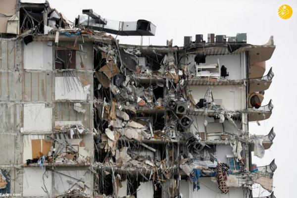 (تصاویر) ریزش ساختمان 12 طبقه در میامی
